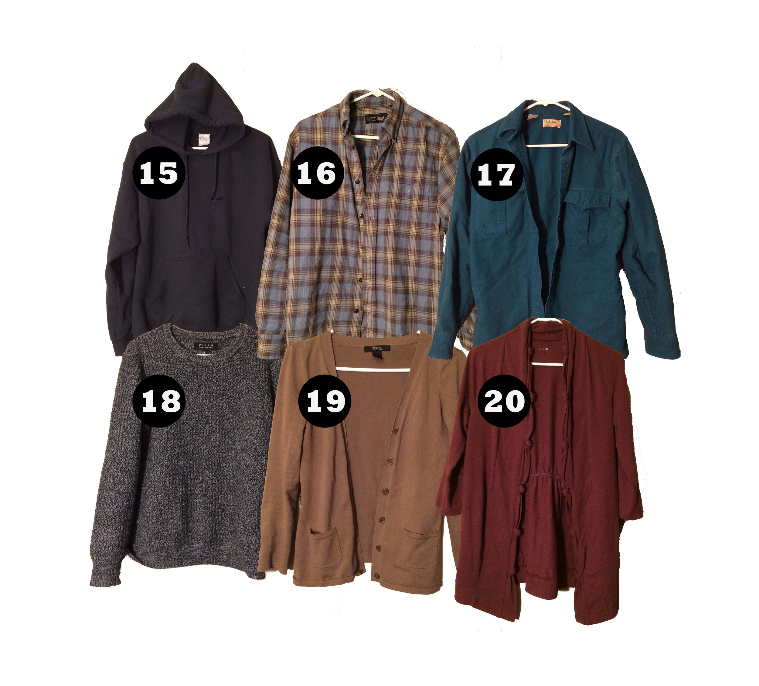 Mid-Layer Tops - A variation of mid-layer tops makes the winter a little more bearable. Items 15-17 are mid-layer tops that I normally wear outside of the office. Items 18-20 are mid-layers that I normally wear to the office.All of these items, besides my flannel and hoodie, will be stored once spring comes around.