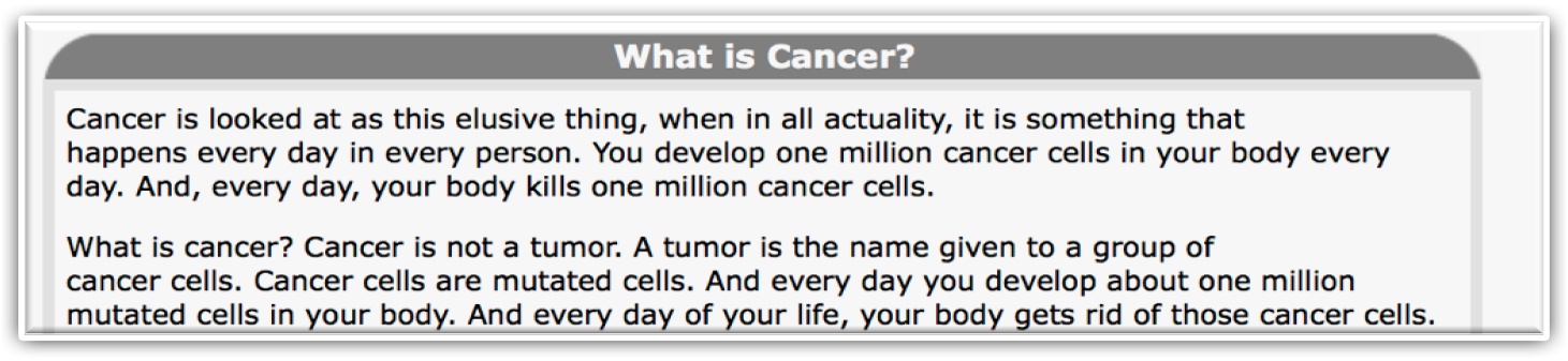 you develop one million cancer cells in your body everyday! the only way to get rid of them is by having a meticulously functioning immune system.