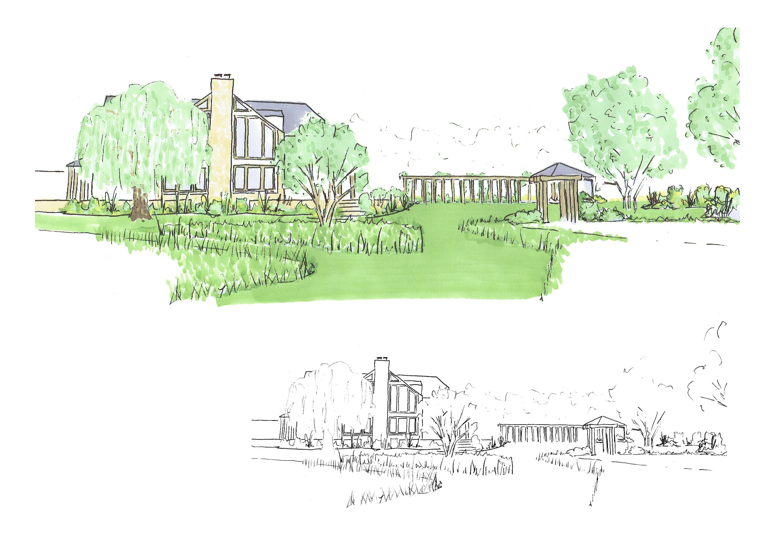 An artistic impression of the view back from the orchard.