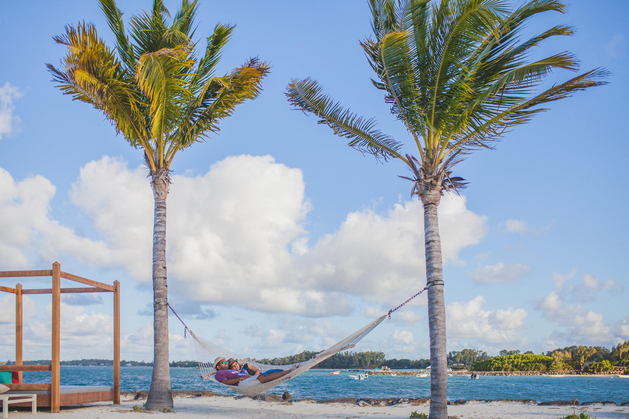 Couple on Honeymoon at Azuri on a Hamak in Mauritius