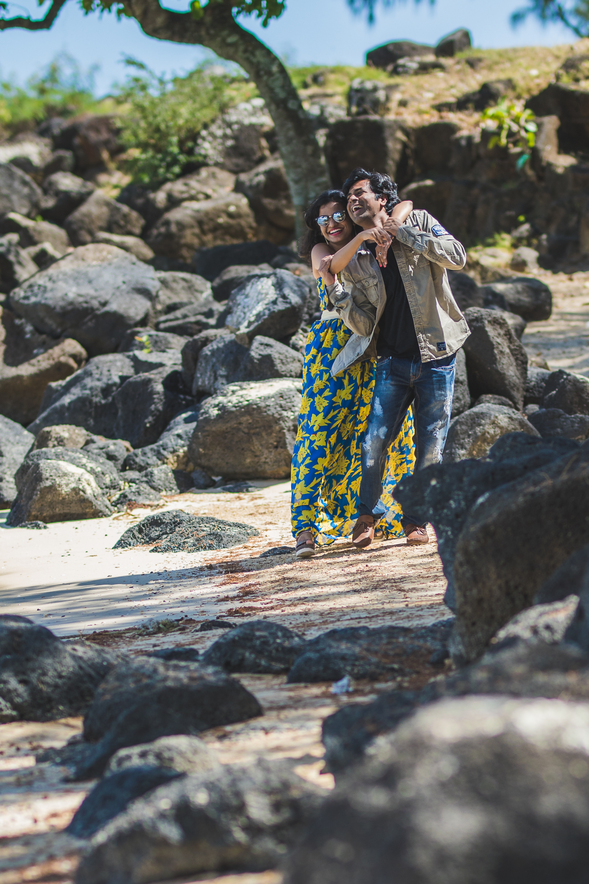 Indian Couple cuddling in Mauritius