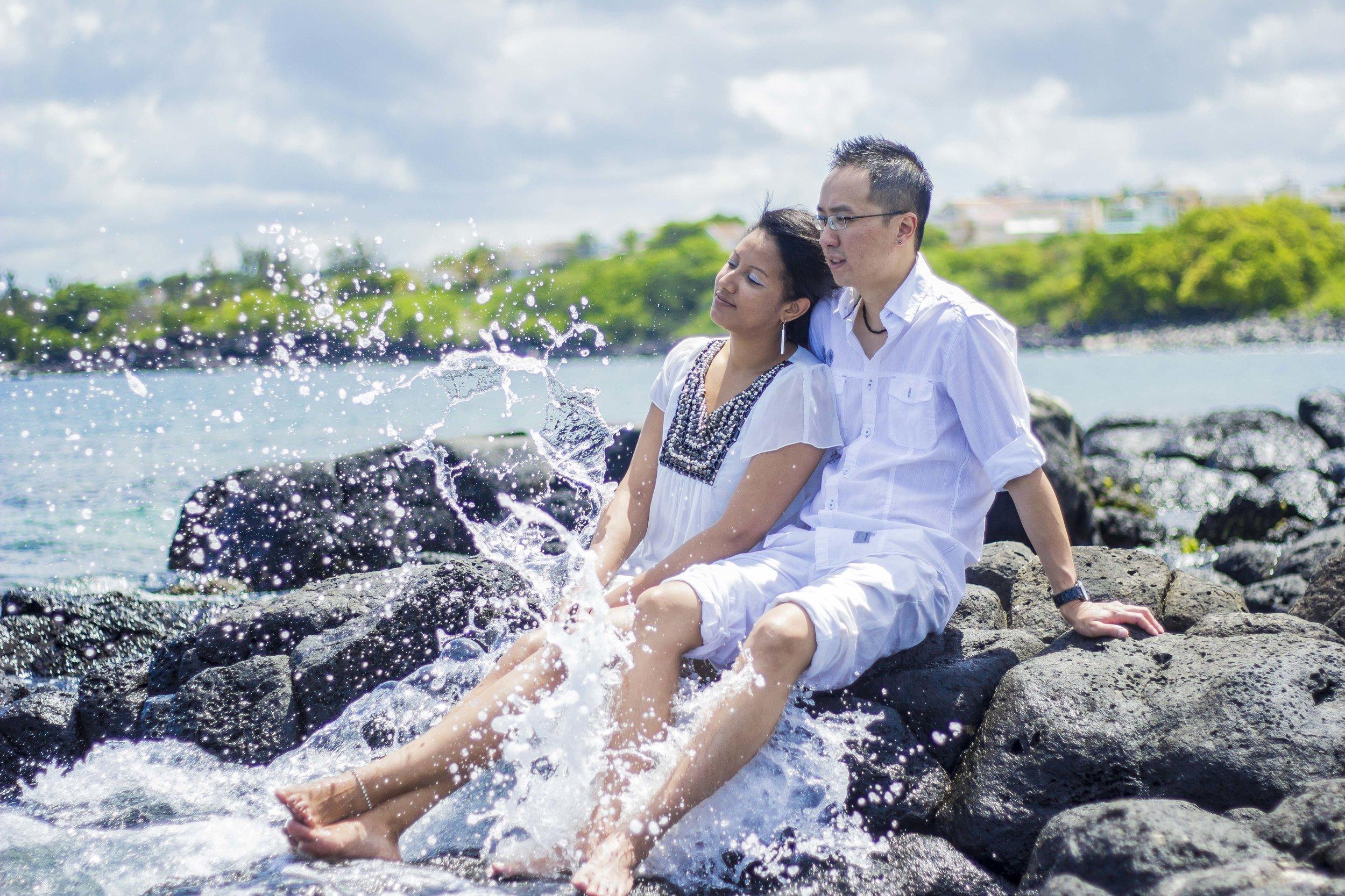 Post Wedding Photoshoot wave crashing in Mauritius