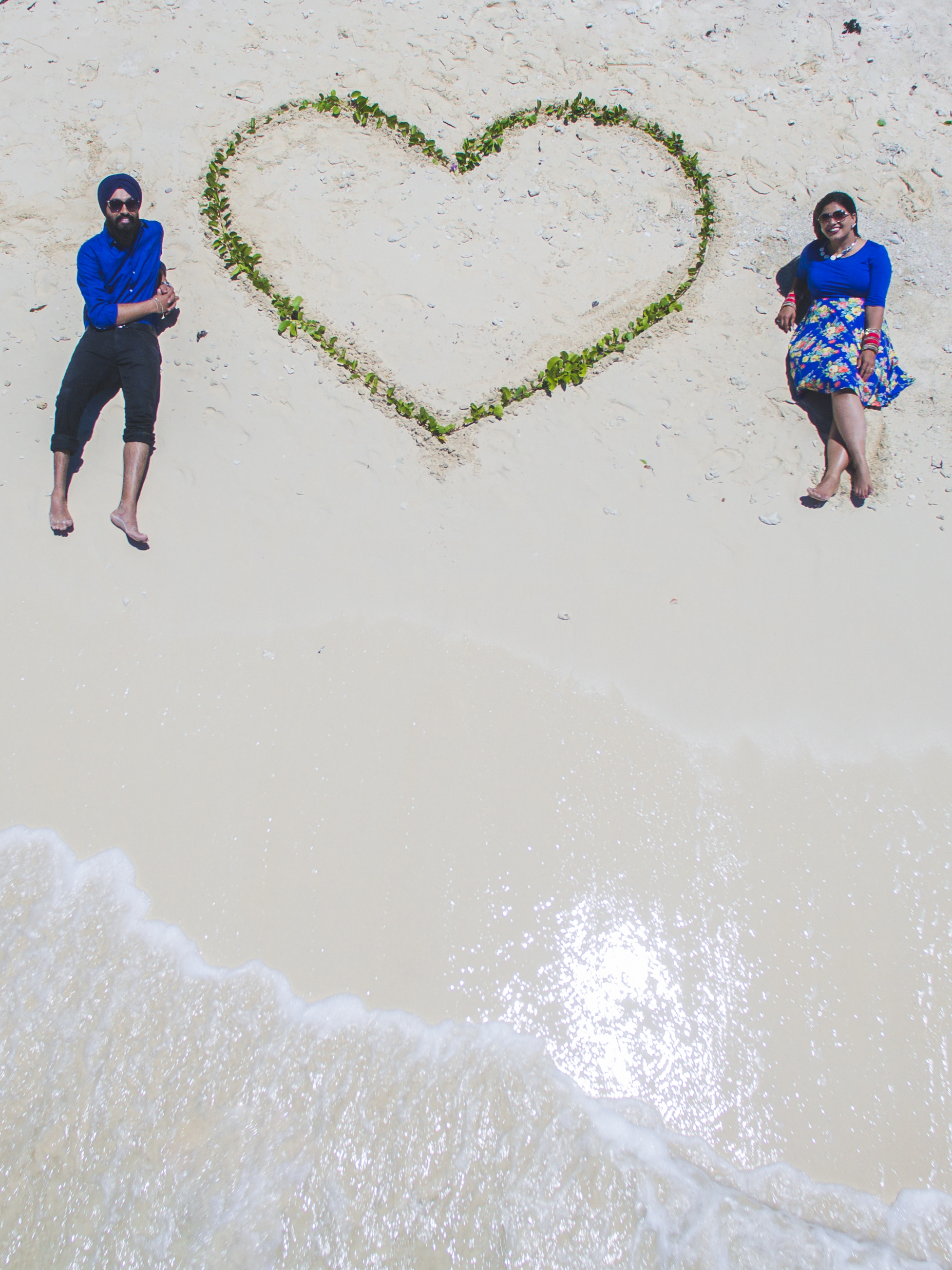 Drone photography Heart Indian Couple