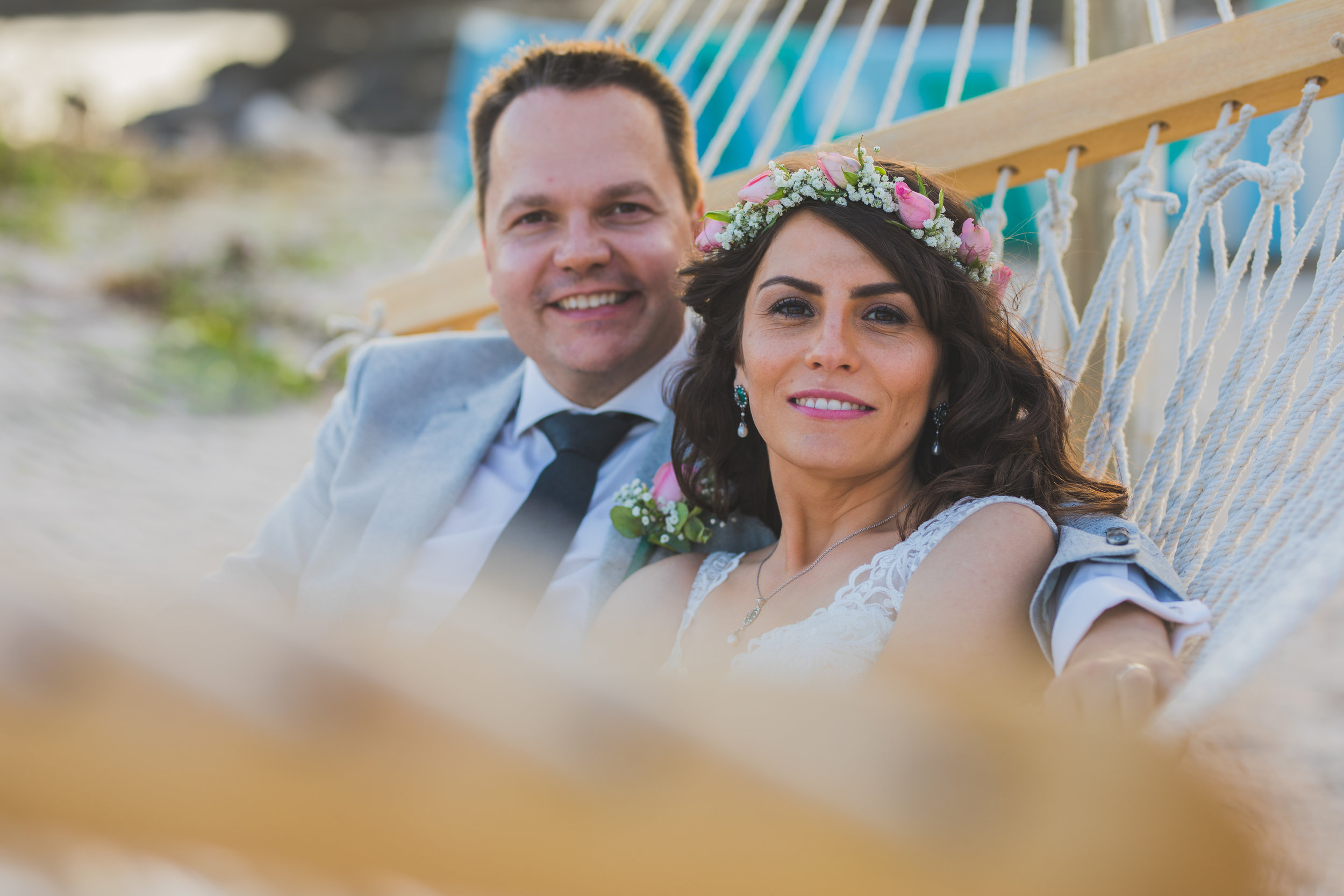 Maried Couple Smiling on a Hamak in Mauritius
