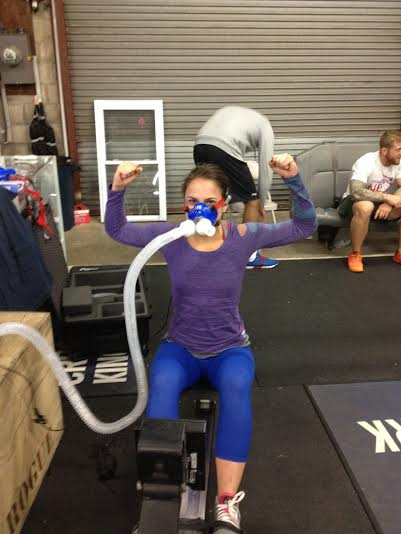 Rosalie tested her VO2 Max today... she makes that mask look good!