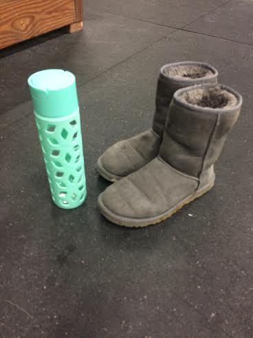 This Sad pair of boots and water bottle were left at the gym tonight. They are in the lost and found. Get em!