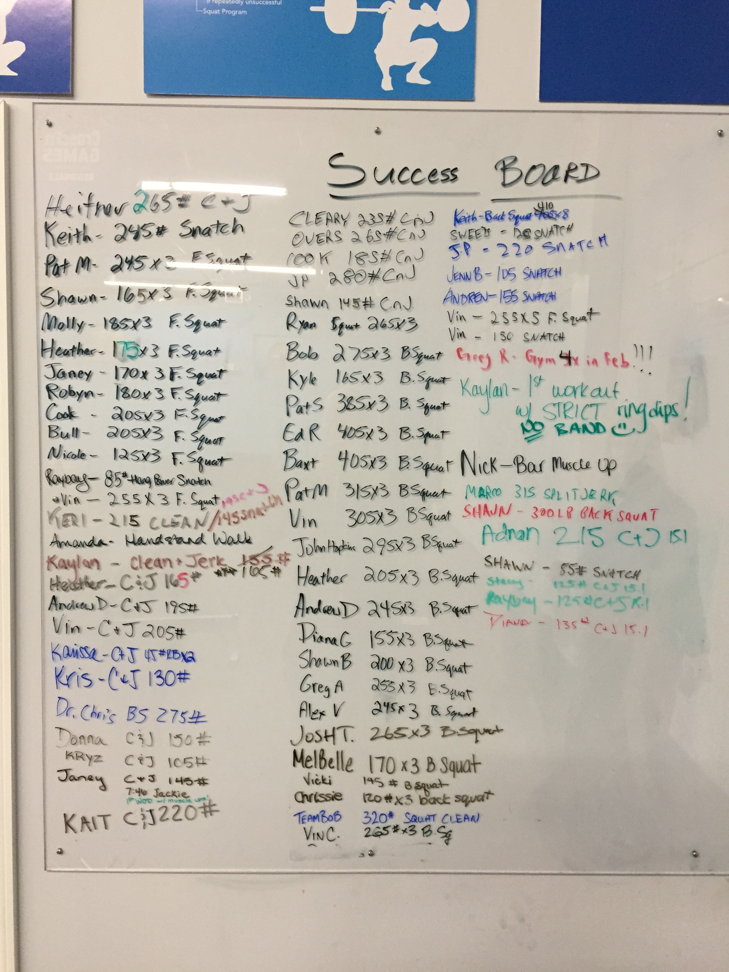 February's success - make sure to jot it down on the board if you do something awesome...