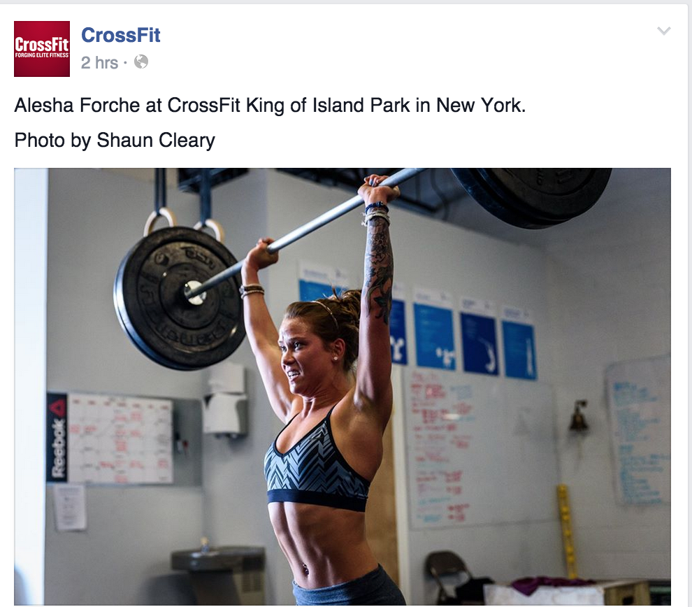 Alesha getting a shout-out on CrossFit's Facebook Page