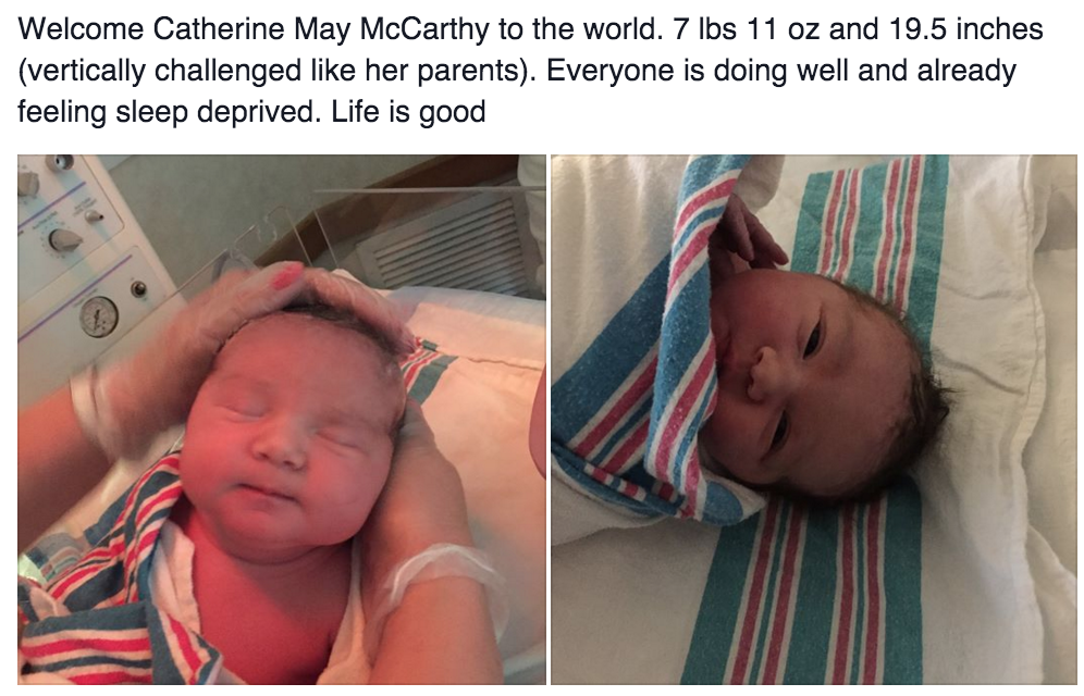 Congrats to the mcCarthys on their new child!