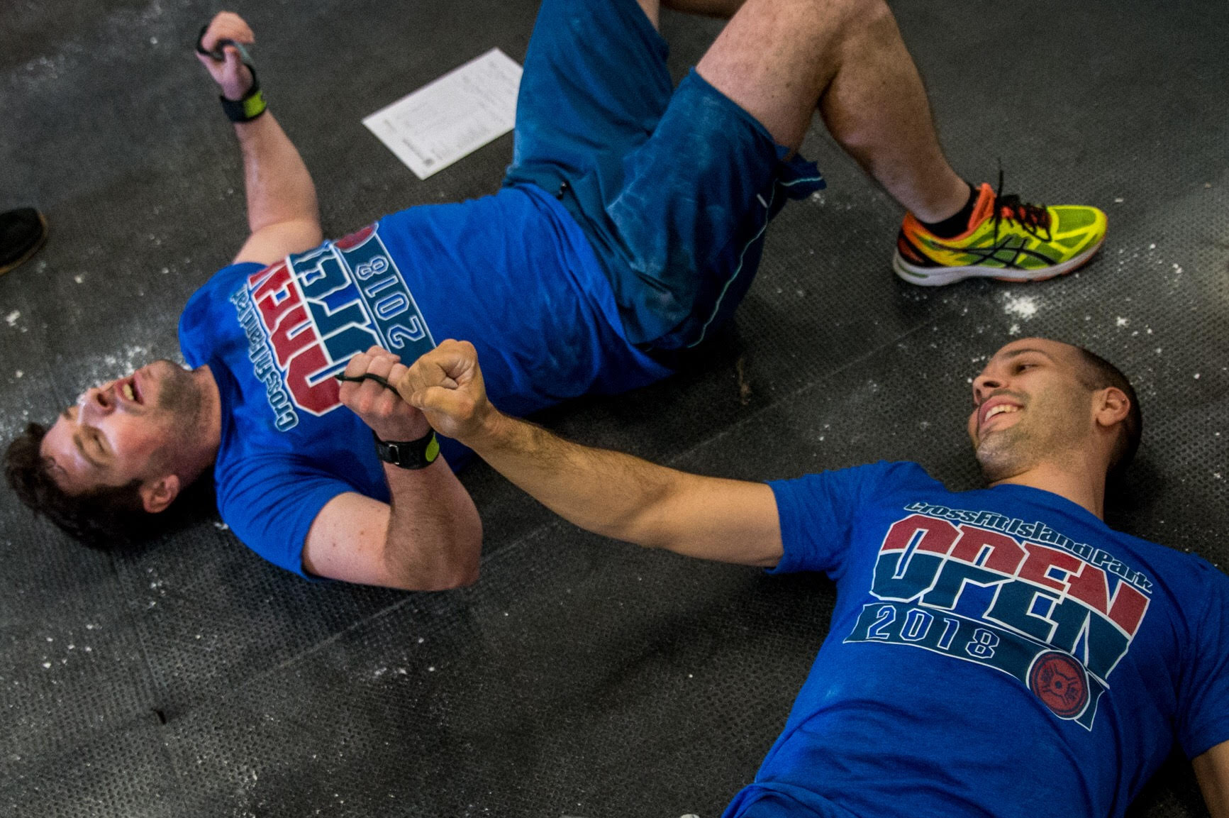 Athletes Pat Duggan & Chris Tofelo after completing 18.1 Photo: @supercleary