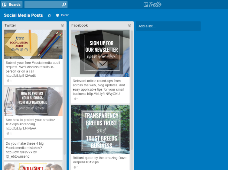 Screen shot from www.trello.com