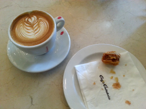 Caffe Calabria Latte and Cinnamon Walnut Rugalach