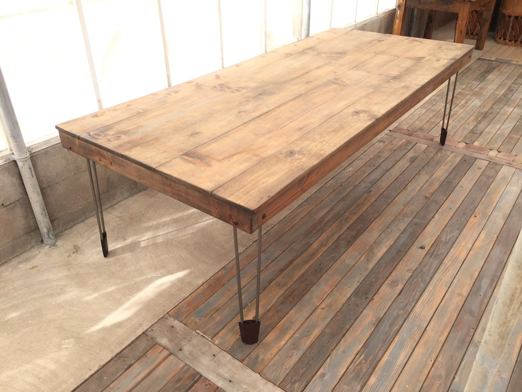 Weathered Table w Hairpin Legs & Leather Shoes