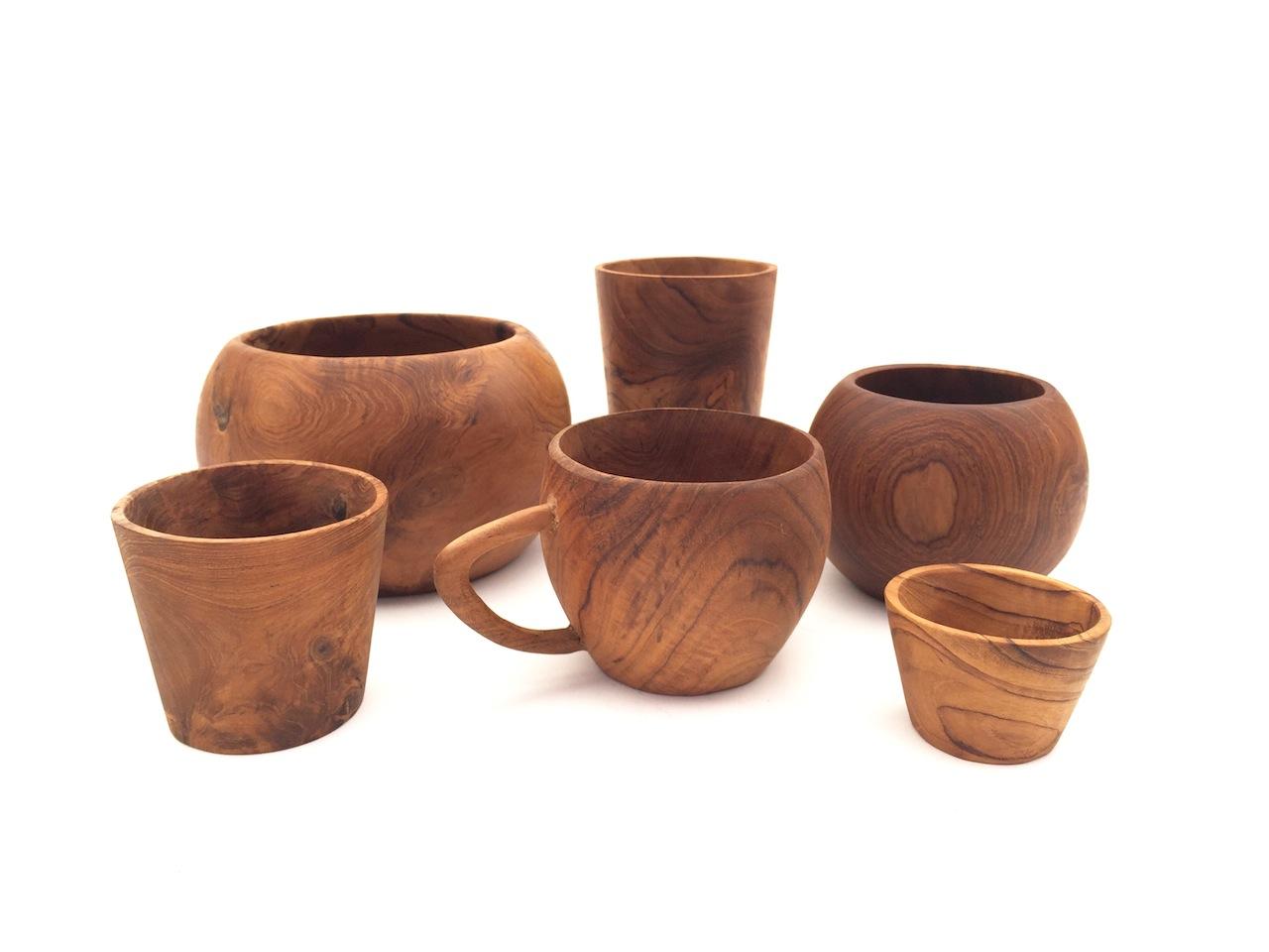 Teak Cups & Bowls