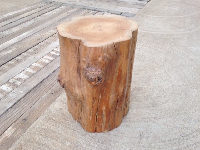 TEAK LOG SIDE TABLE