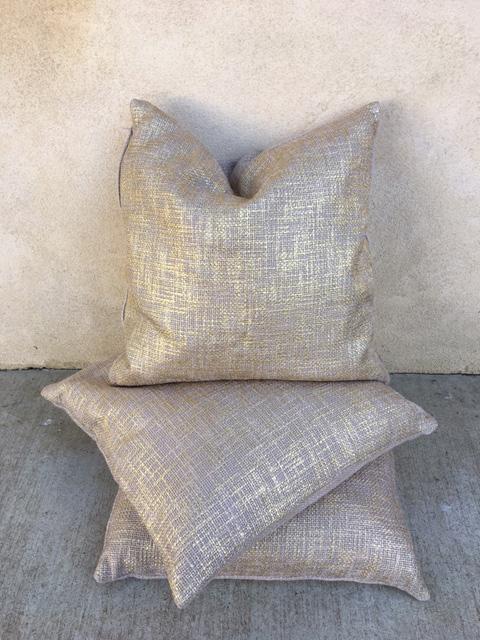 Gold Woven Linen Pillows