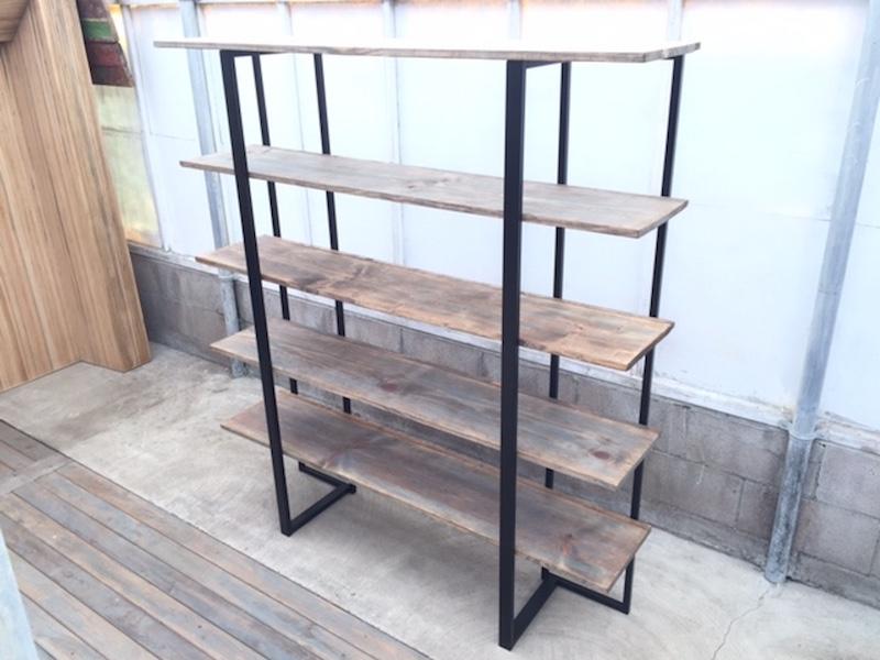 Weathered Bookcase w Metallic Shelf
