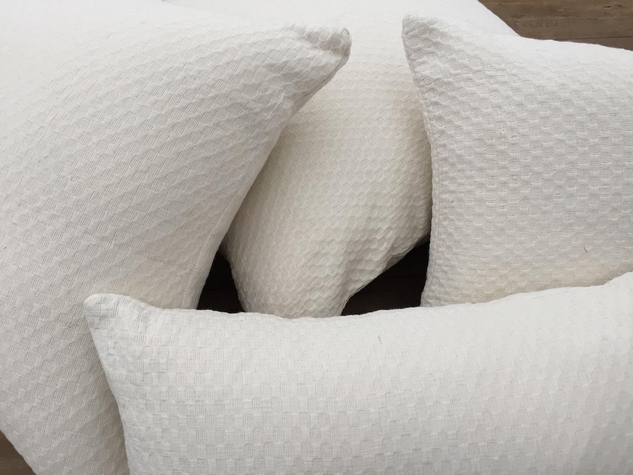 Textured White Pillows