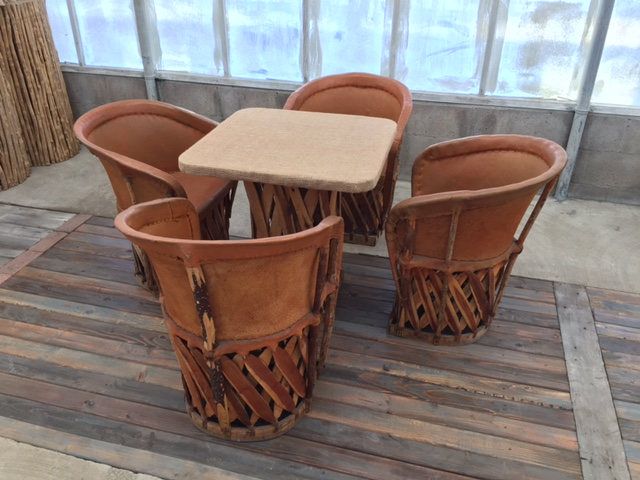 Equipales Sq Table & Rustic Chairs 5(pc) Set