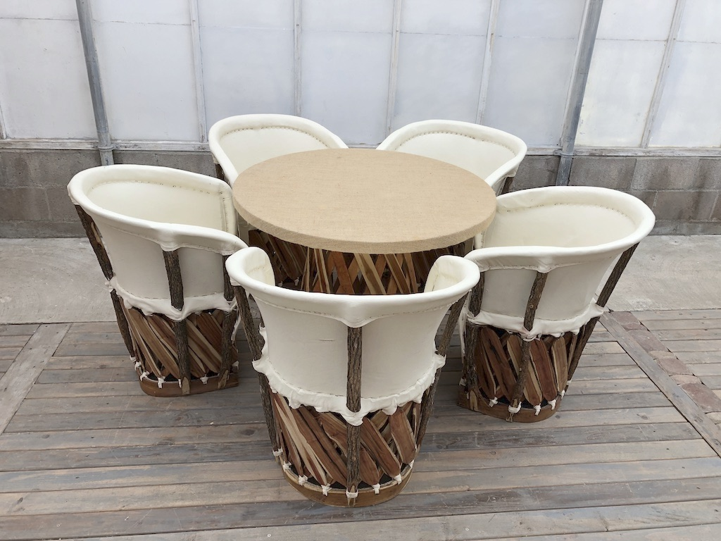 Round Burlap Table w Ivory Chairs