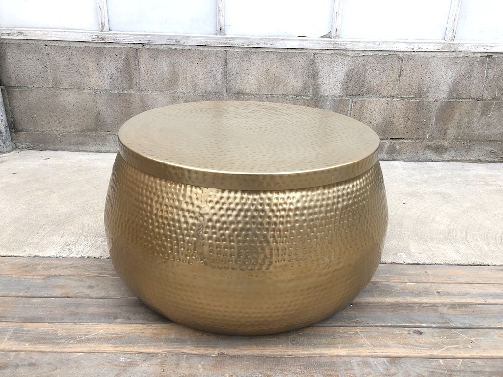 Wide Dimpled Metallic Table