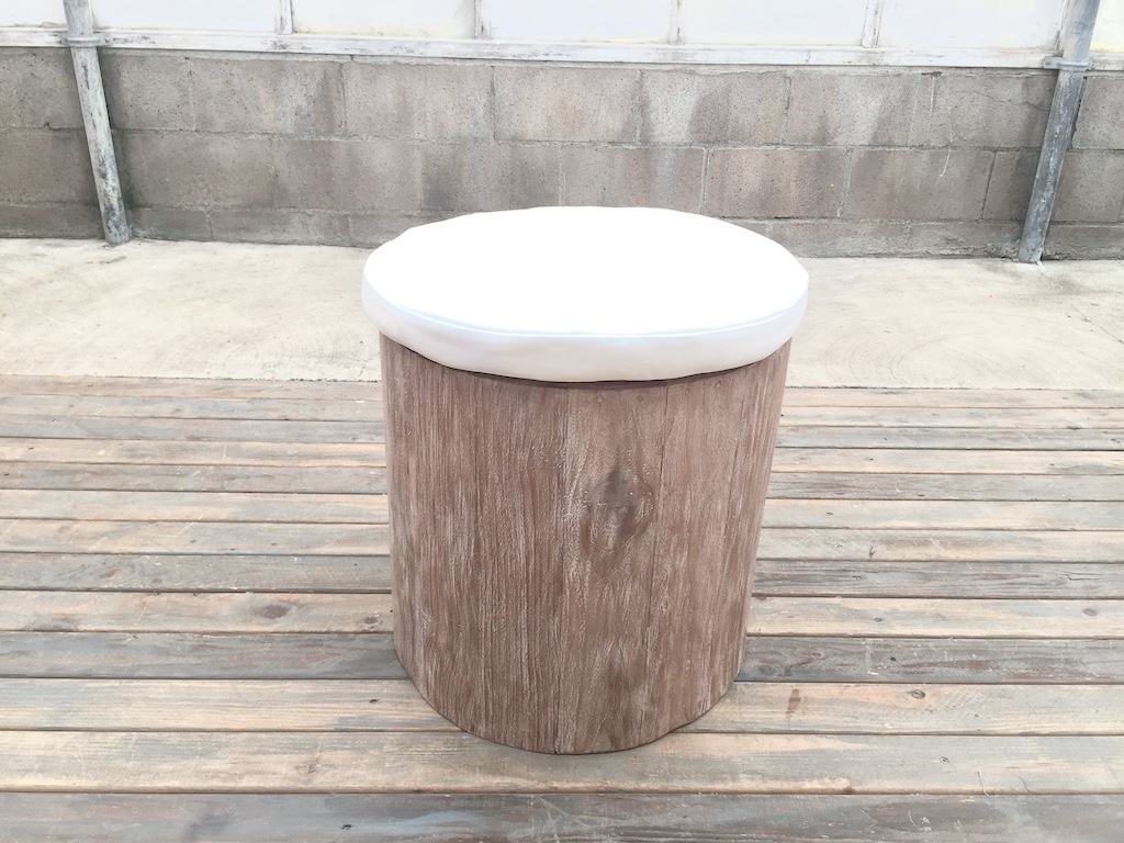 Weathered Stool w Seat Cushion