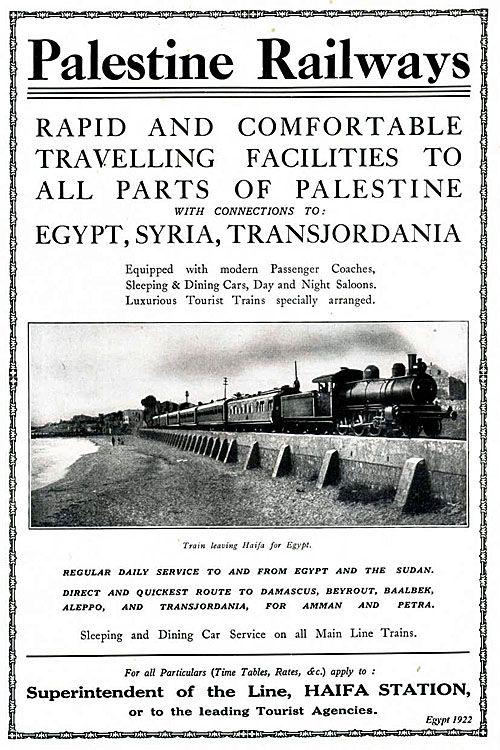 1922 poster showing Palestine Railways