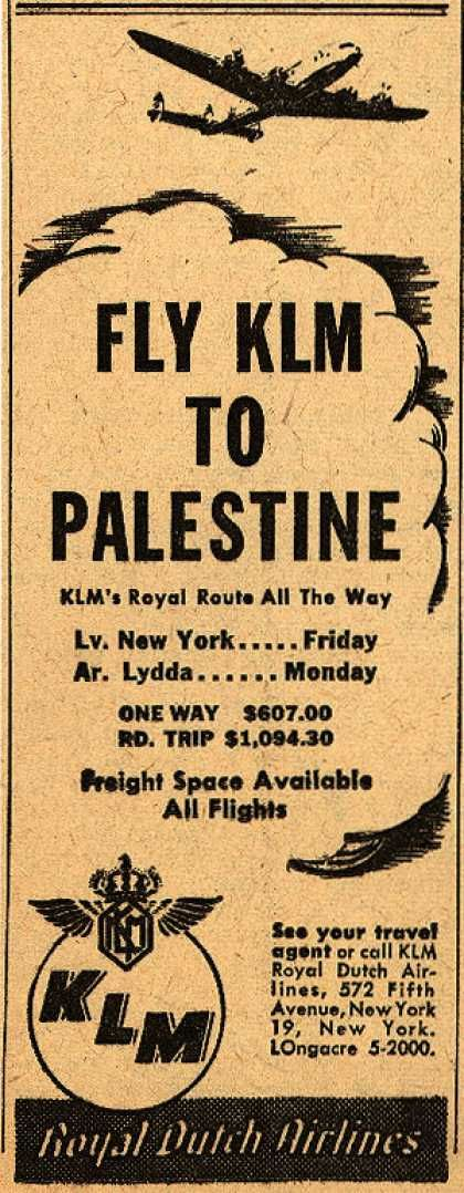 New York to Palestine with KLM