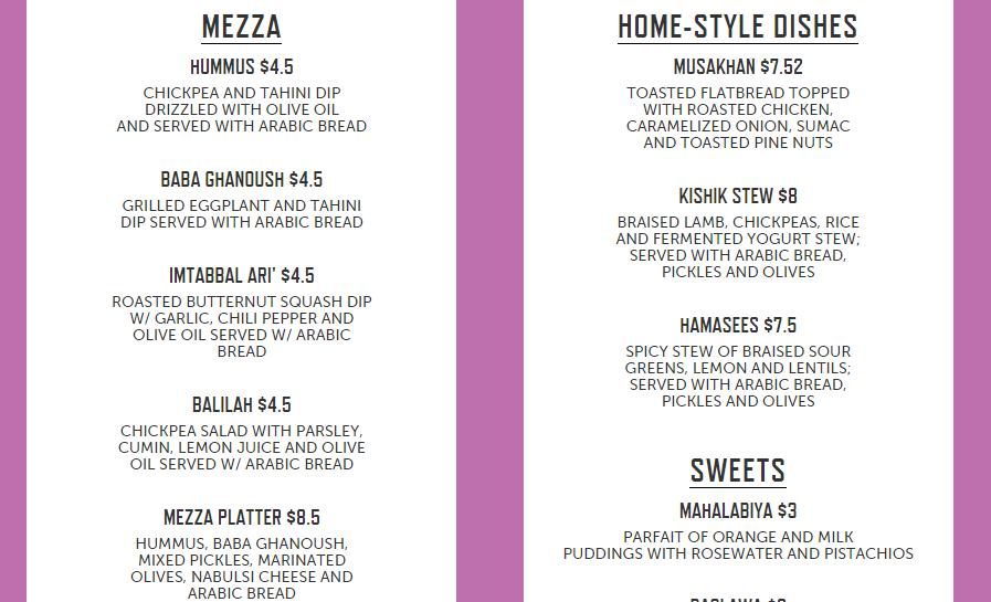 Sample menu from Palestinian pop up.