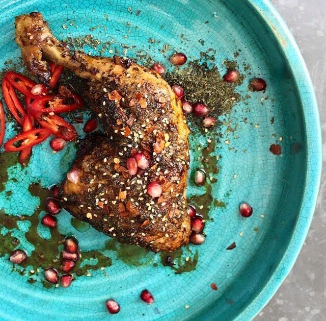 Za'atar Chicken with Pomegranate molasses, chilli and dried mint