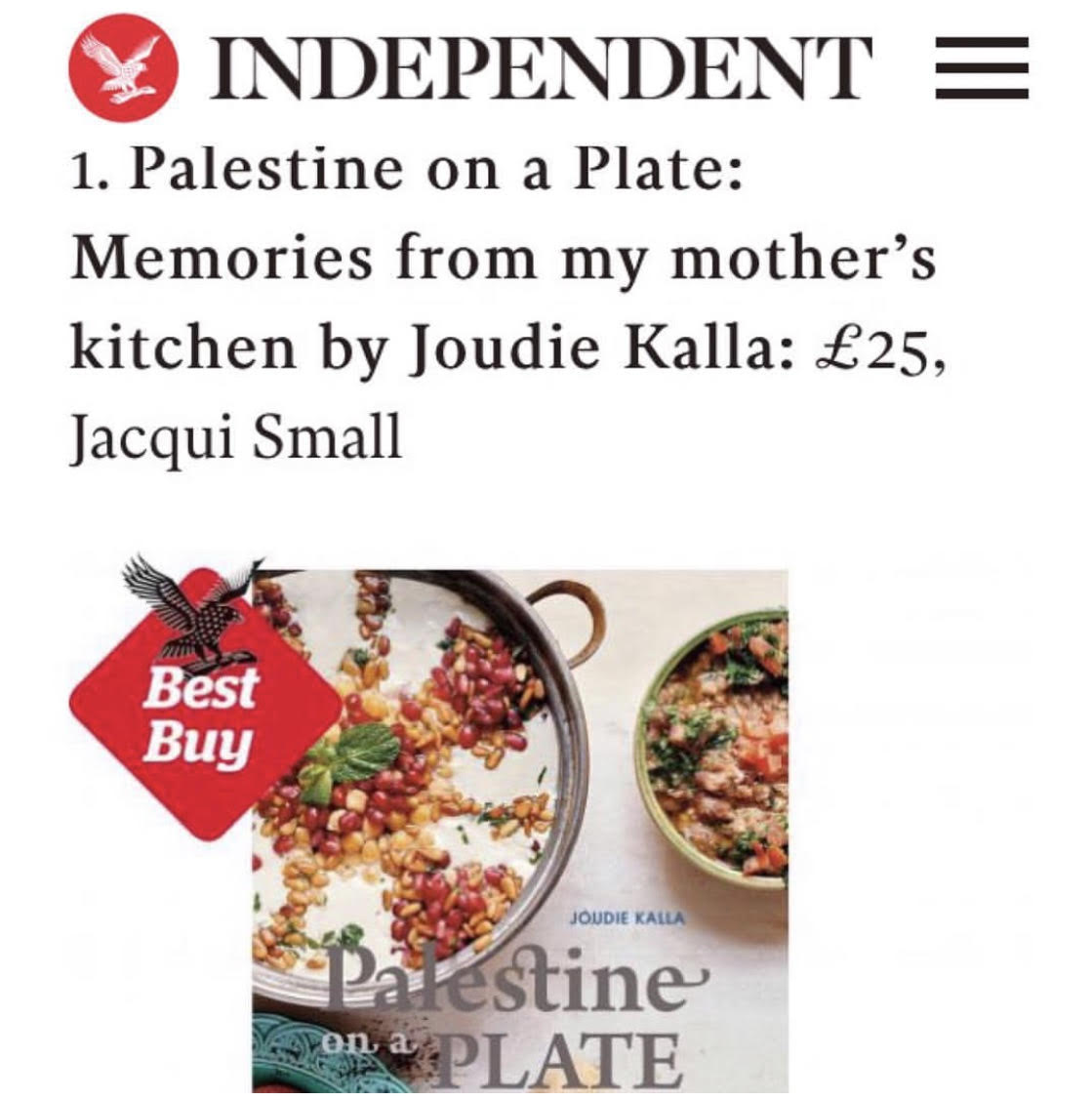 THE INDEPENDENT - Joudie kalla - Best book 2016