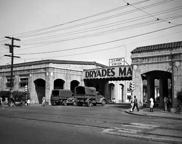 The historic Dryades Market buildings, situated at what is now the intersection of Oretha Castle Haley Boulevard and Martin Luther King, Jr. Boulevard.  The building on the right now houses the Southern Food and Beverage Museum, and the New Orleans Jazz Market occupies the left building.  This photo, courtesy of the New Orleans Public Library, shows the Market being used as a WAC recruiting station during WWII.