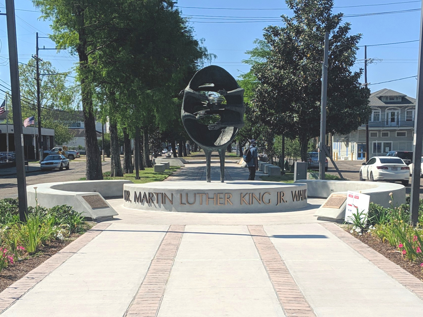 Improvements to the sculpture plaza at the intersection of Martin Luther King and Oretha Castle Haley boulevards are complete, and a re-dedication was held on Friday April 12, 2019   More