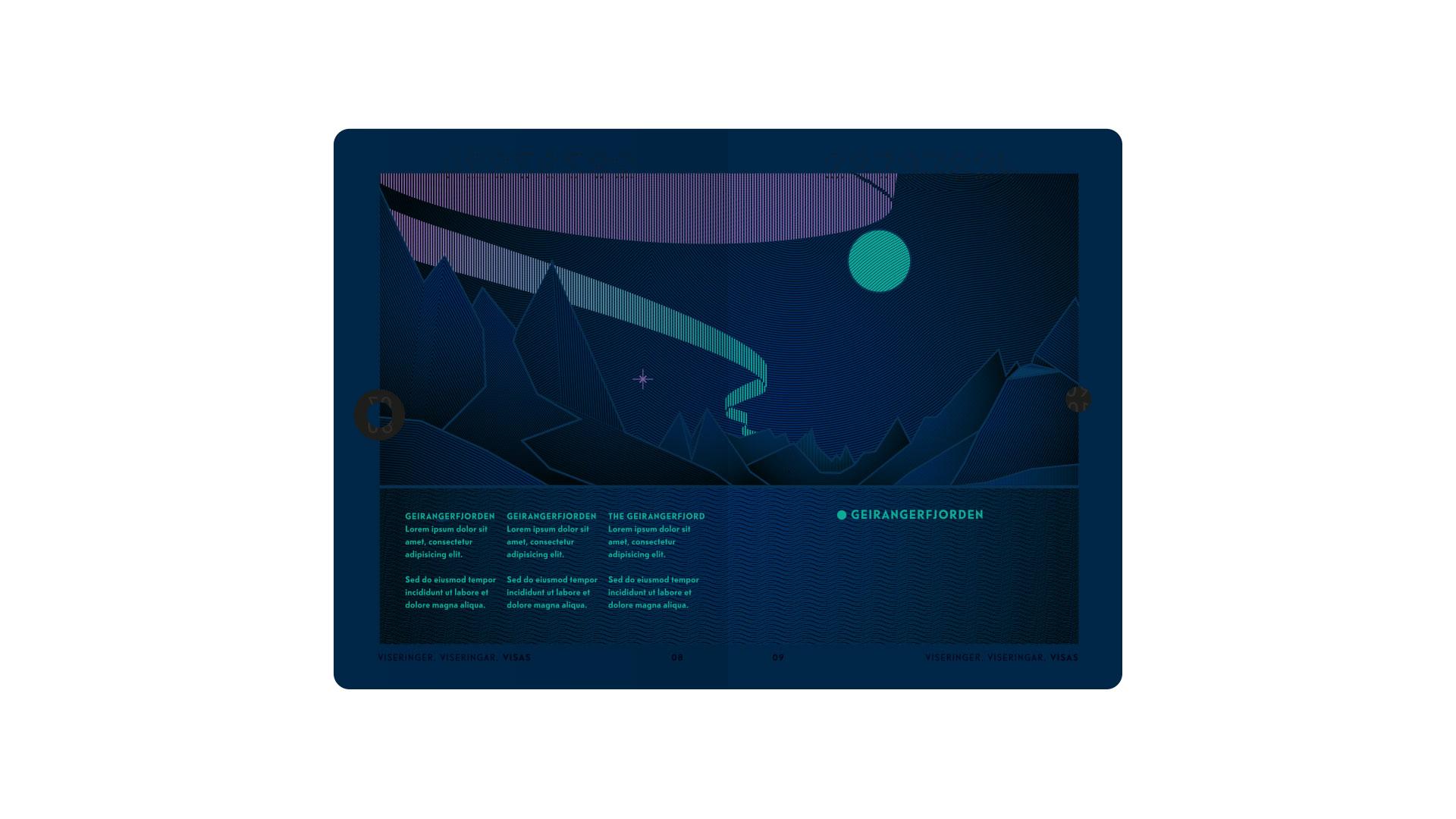 New Norwegian Passports (under UV light). Courtesy of Neue Design Studio