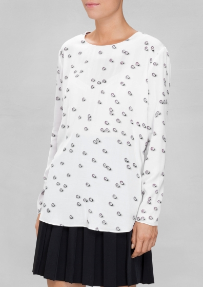 Pearl Blouse from  And Other Stories . A simple white color with classic pearl detail.