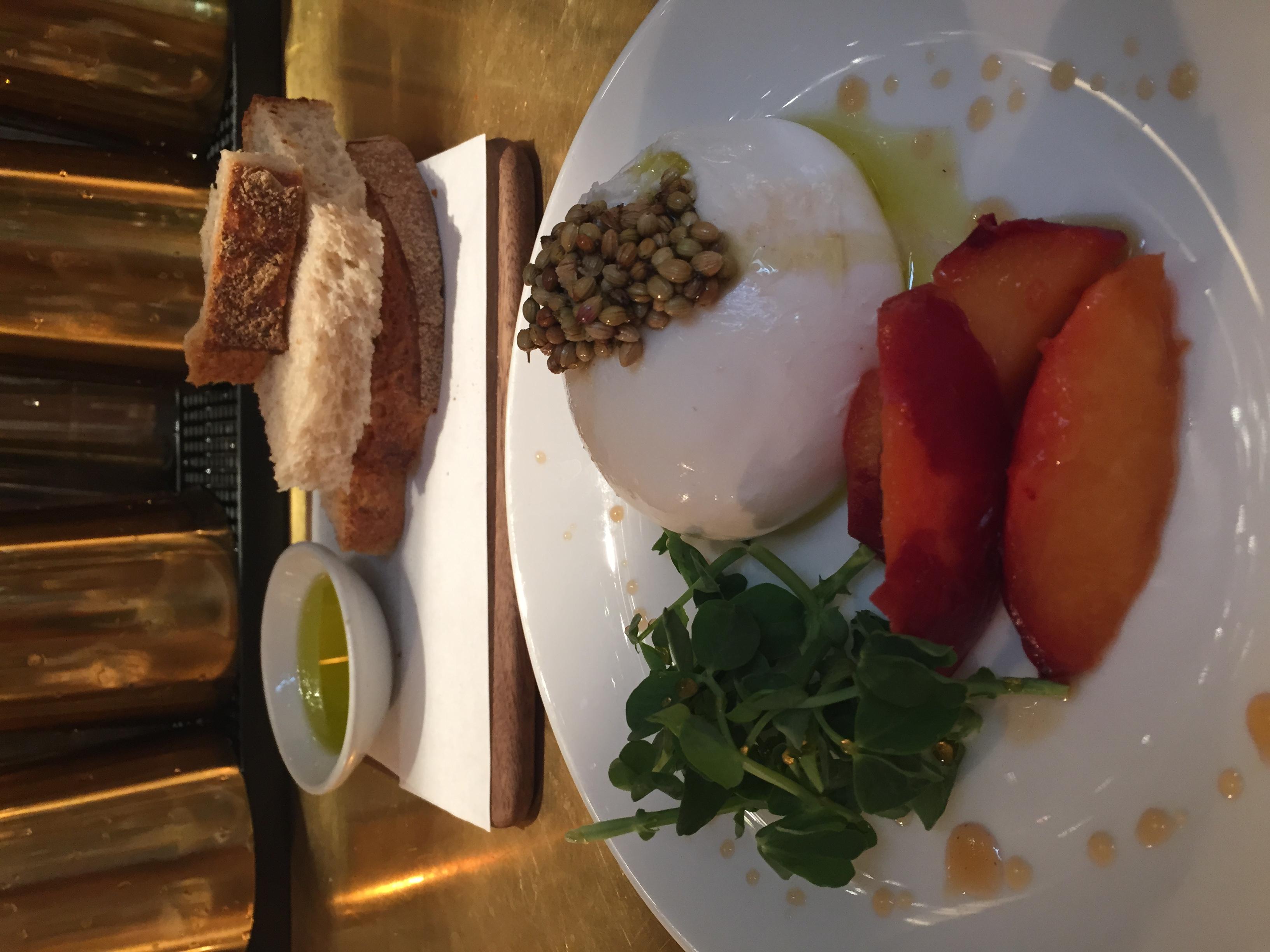 NOPI's exquisite Burrata with flavored peaches. YUM.