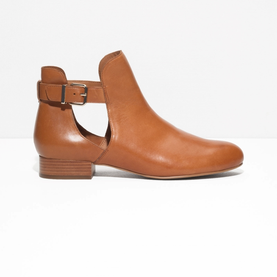 CUTOUT LEATHER ANKLE BOOTS £79