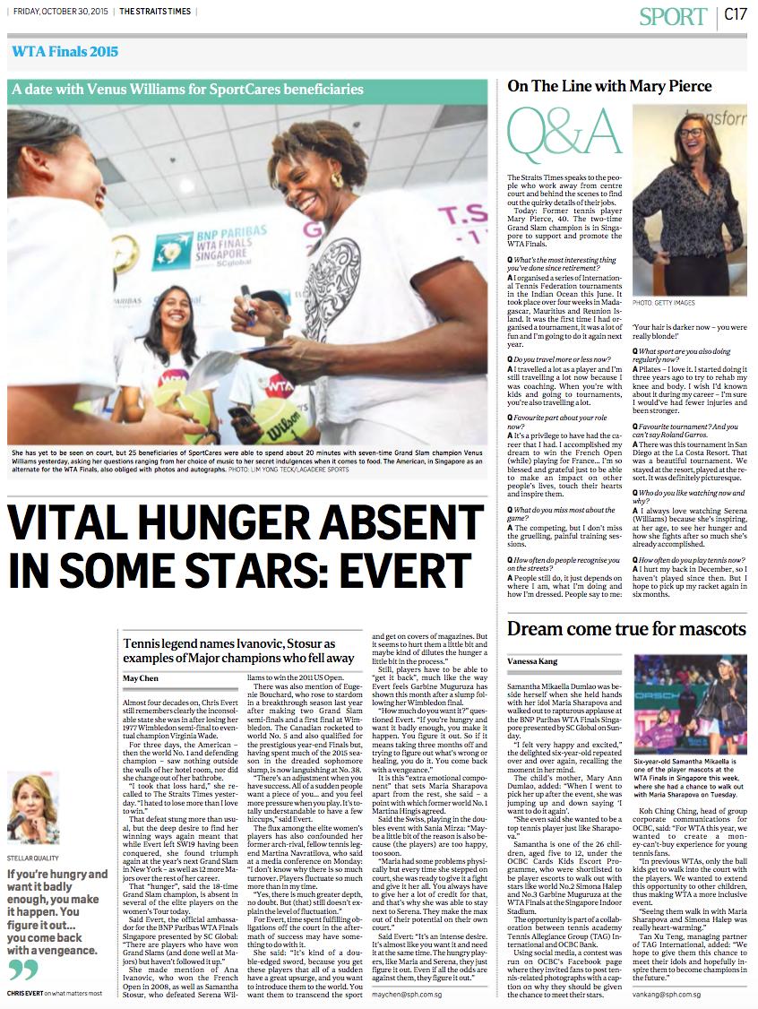 Venus Williams, WTA Finals 2015, The Straits Times (www.straitstimes.com)