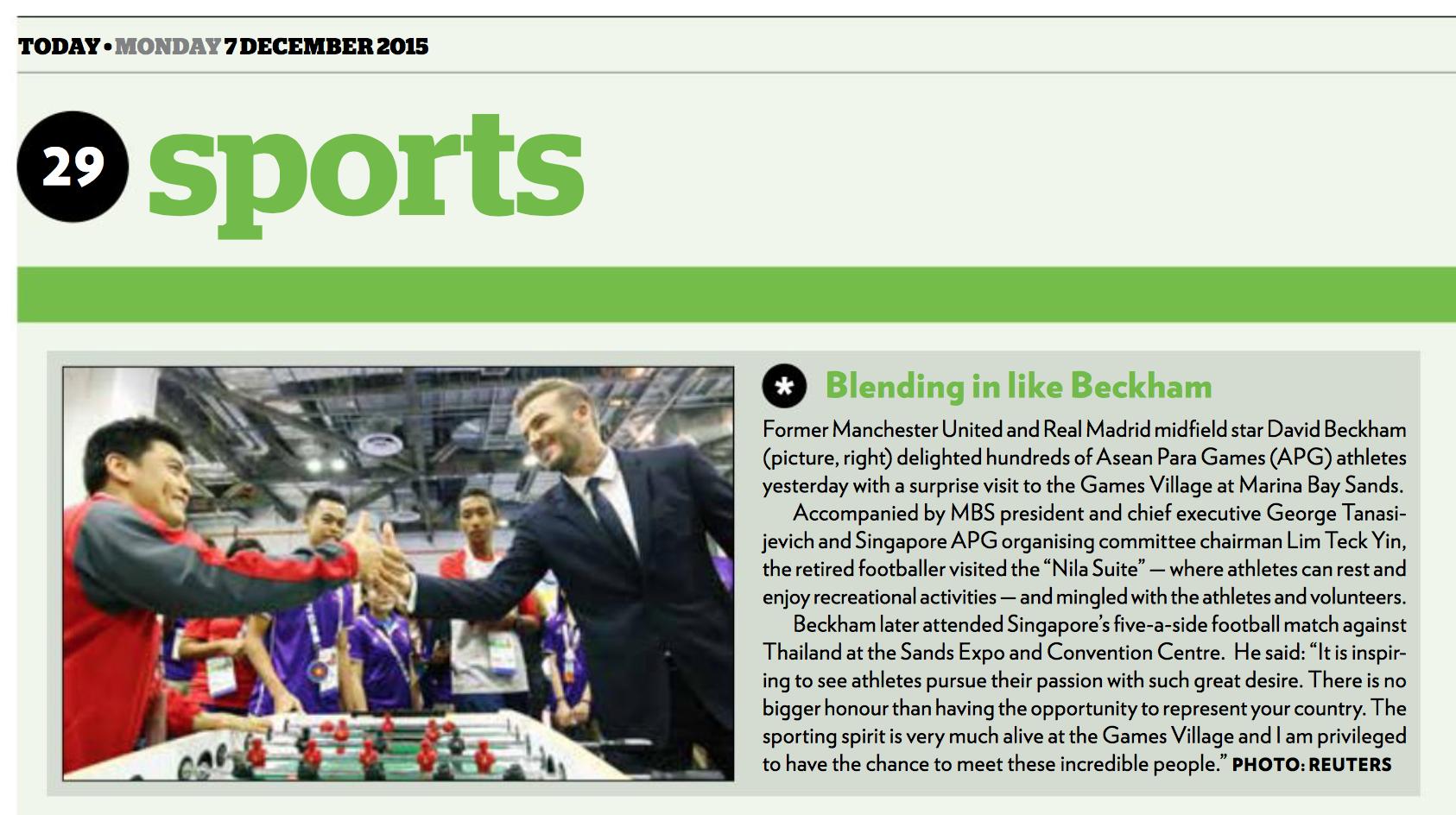 David Beckham visit, 8th ASEAN Para Games, TODAY (www.todayonline.com)