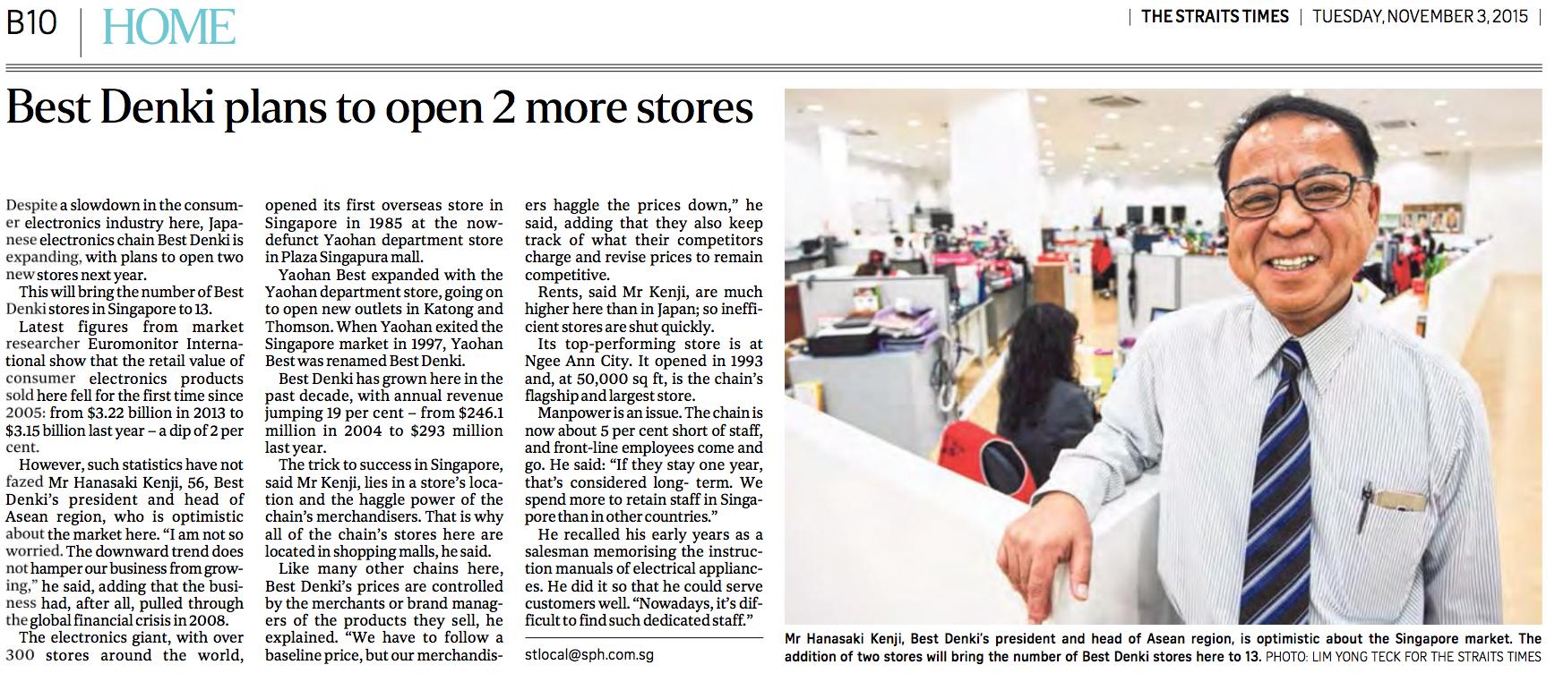 Kenji Hanasaki feature for The Straits Times (www.straitstimes.com)