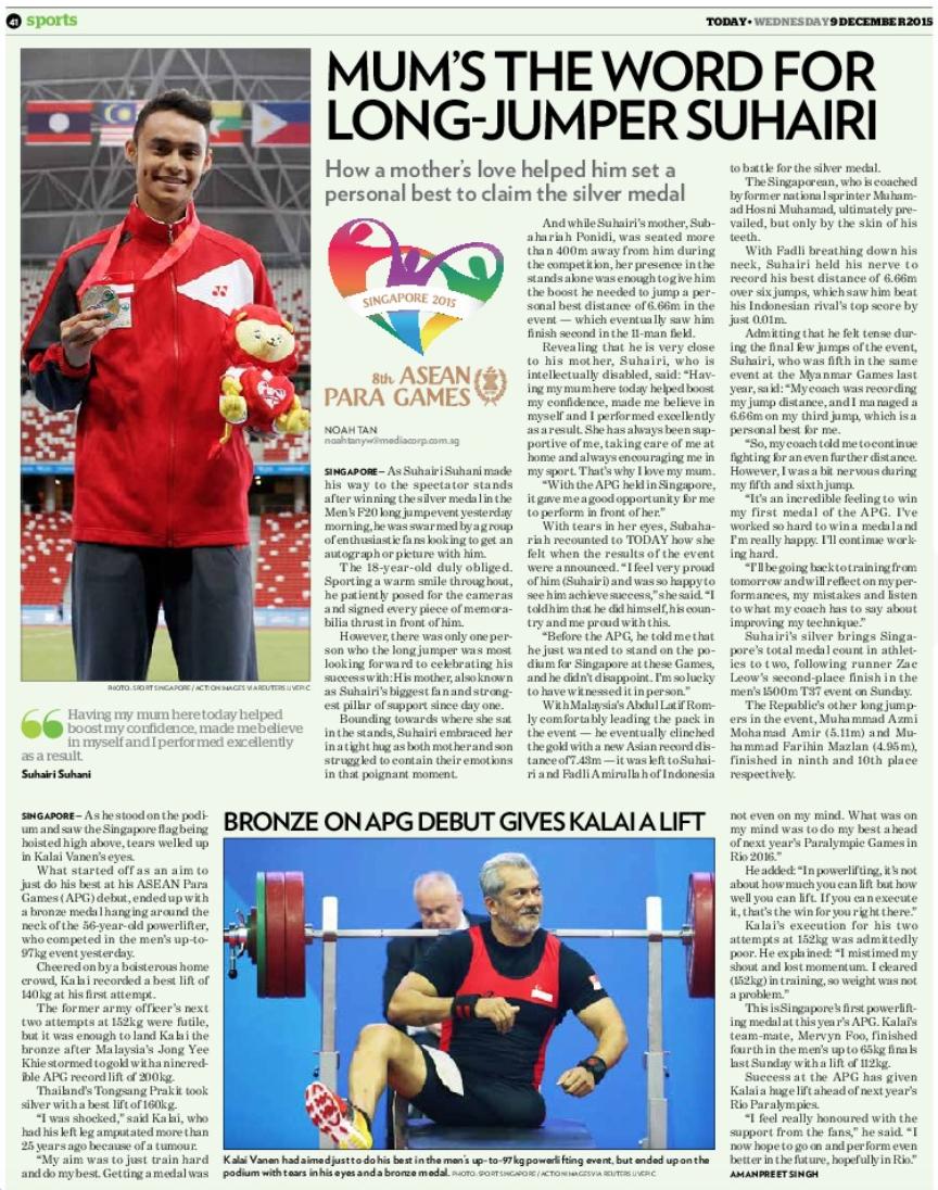 8th ASEAN Para Games, TODAY (www.todayonline.com)