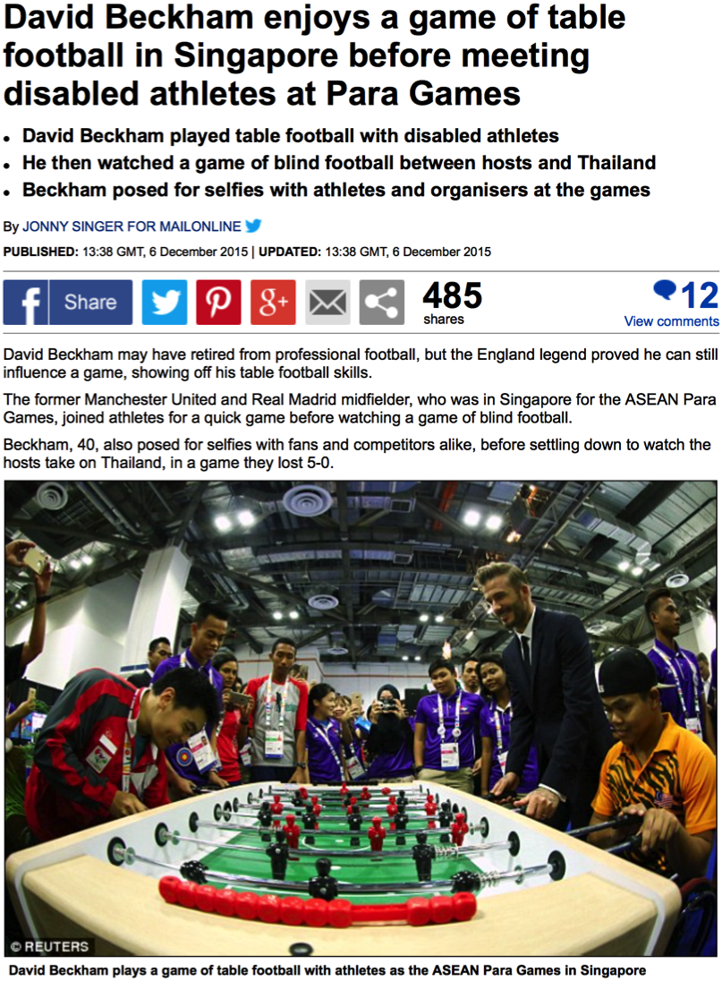 David Beckham visit, 8th ASEAN Para Games, The Daily Mail (www.dailymail.co.uk)