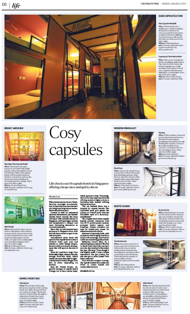 Capsule hostels feature for The Straits Times (www.straitstimes.com)