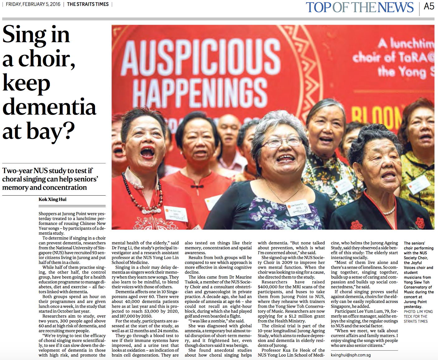 Choral singing and dementia research feature for The Straits Times (www.straitstimes.com)