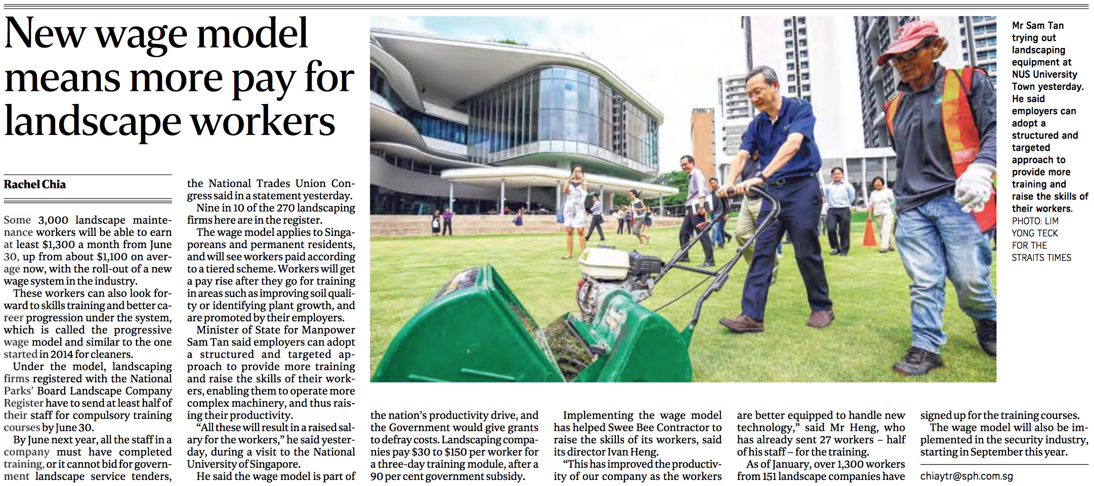 Landscaping industry feature for The Straits Times (www.straitstimes.com)