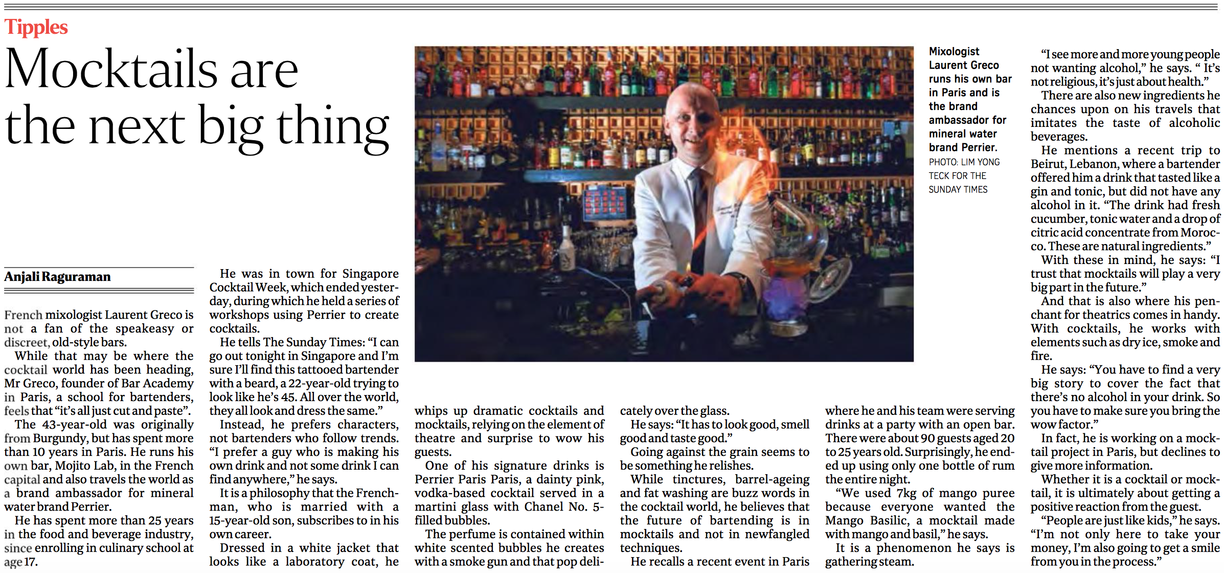 Laurent Greco feature for The Straits Times (www.straitstimes.com)