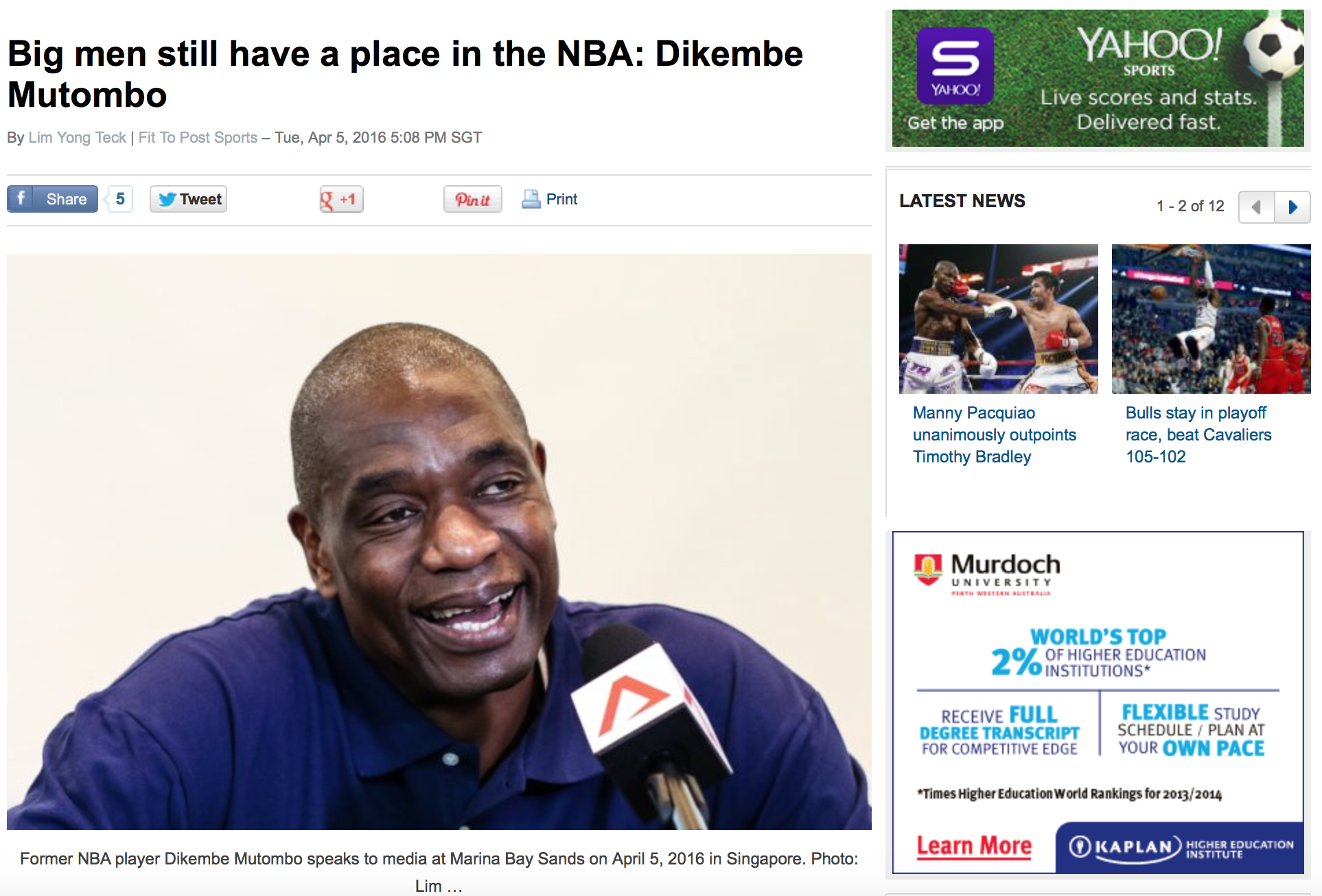 Dikembe Mutombo for Yahoo!(www.yahoo.com)