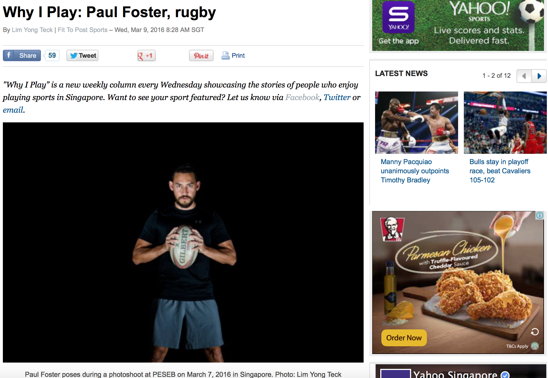 Paul Foster rugby feature for Yahoo!(www.yahoo.com)