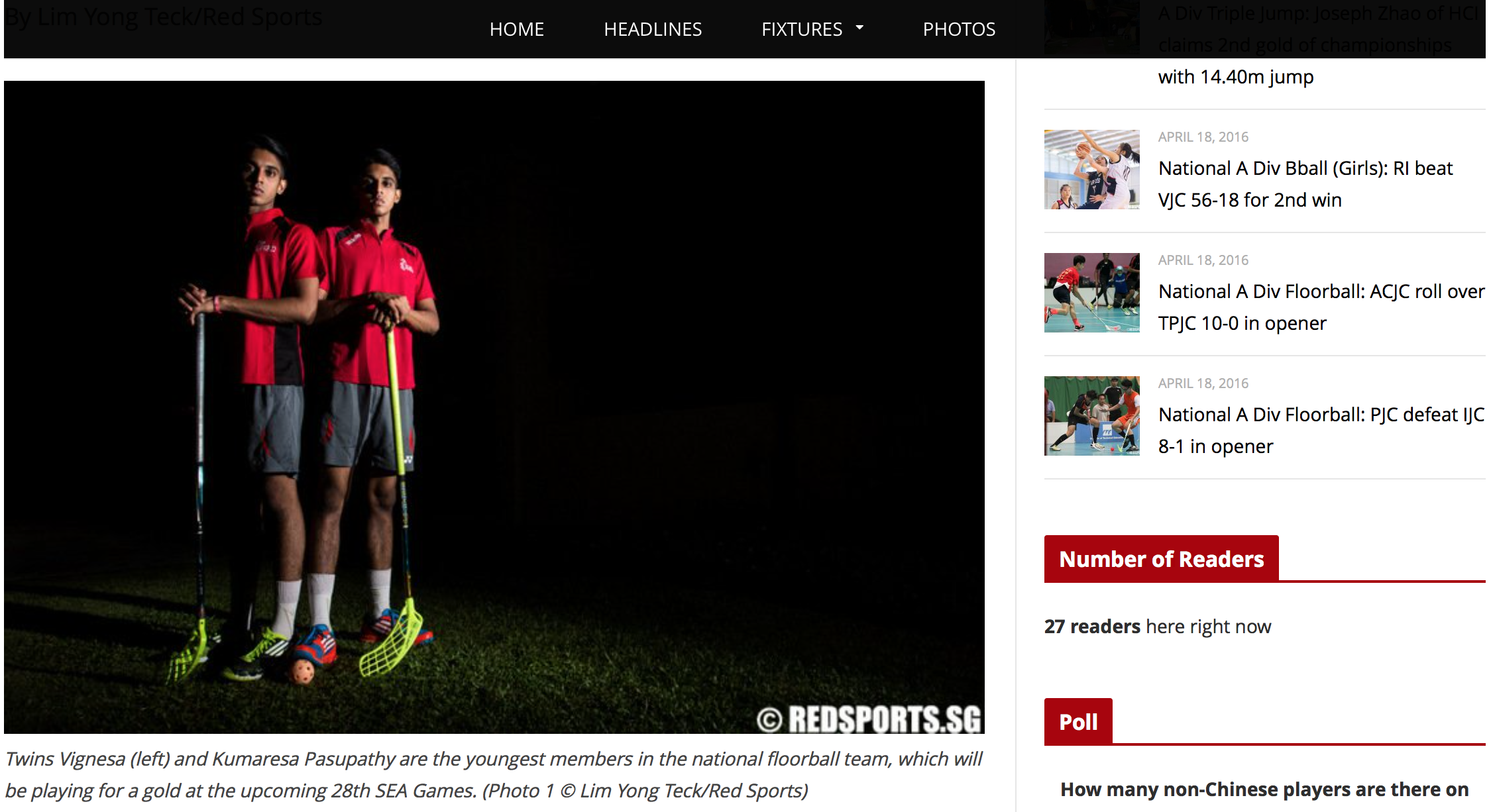 Vignesa and Kumaresa Pasupathy feature for Red Sports (www.redsports.sg)