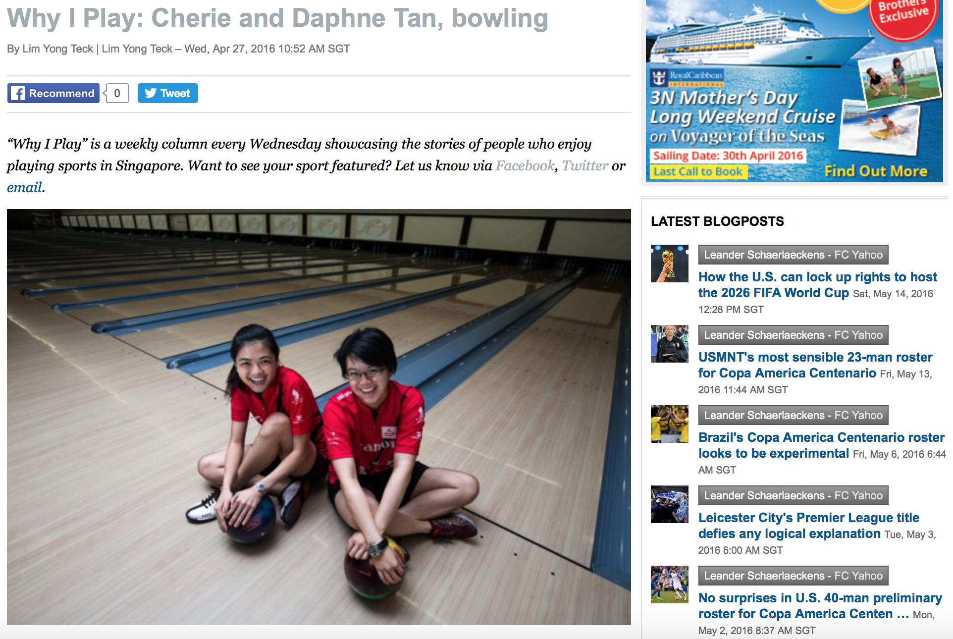Cherie & Daphne Tan bowling feature for Yahoo!(www.yahoo.com)